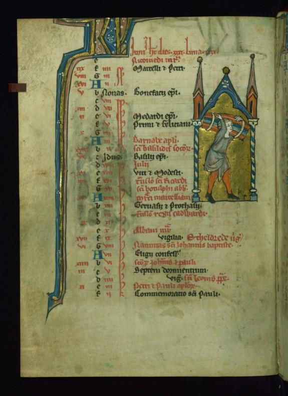 Leaf from Psalter: June Calendar, Man Carrying a Bundle of Wood