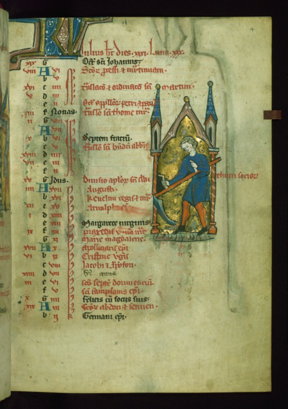 Leaf from Psalter: July Calendar, Man Cutting Grass with a Scythe