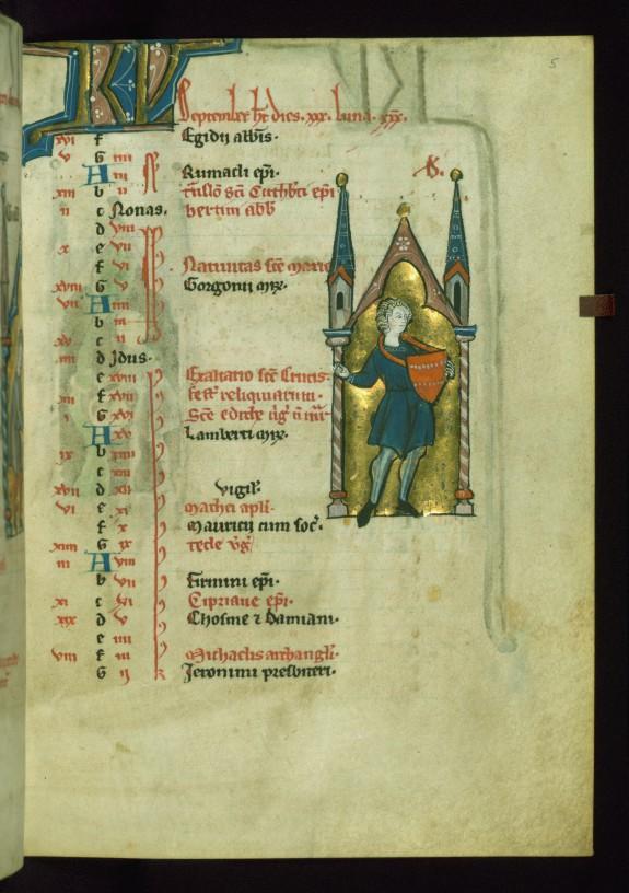 Leaf from Psalter: September Calendar, Man Sowing Seeds