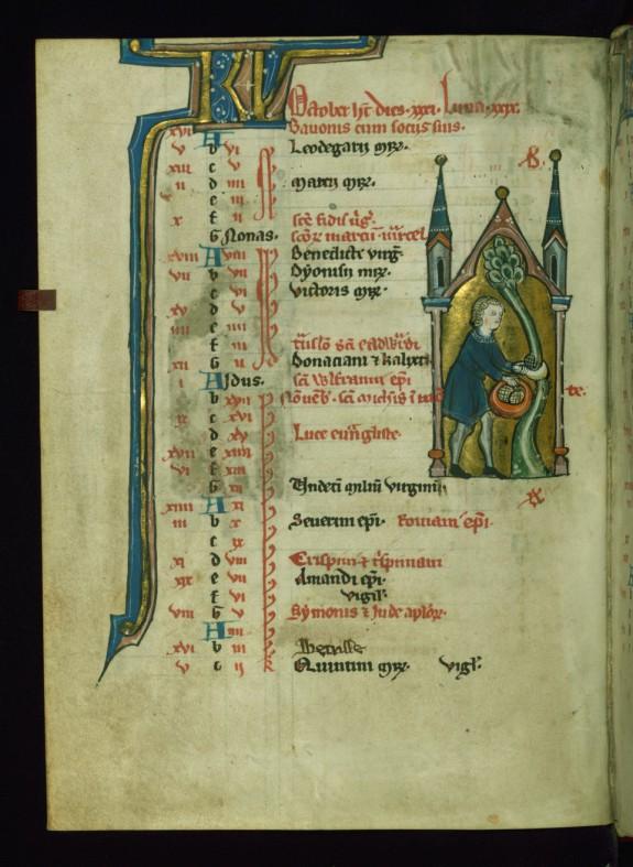 Leaf from Psalter: October Calendar, Man Gathering Grapes