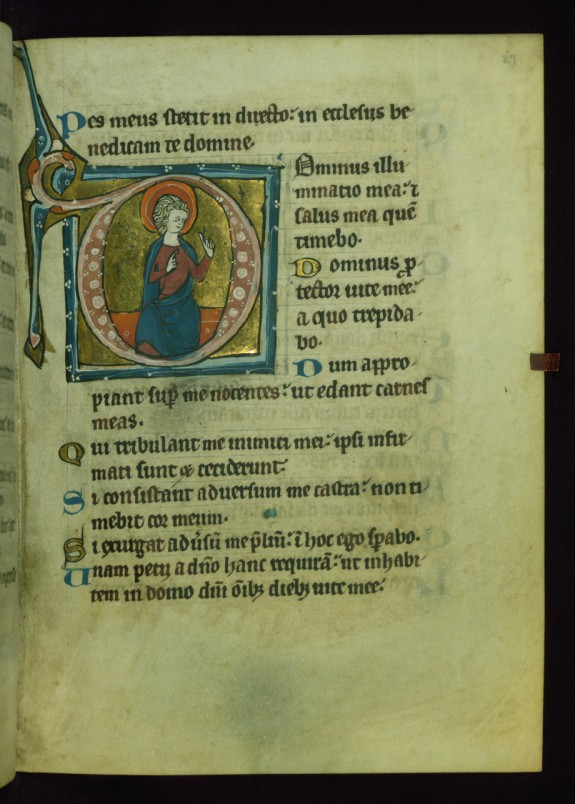 Leaf from Psalter: Psalm 26, Initial D with Seated Apostle