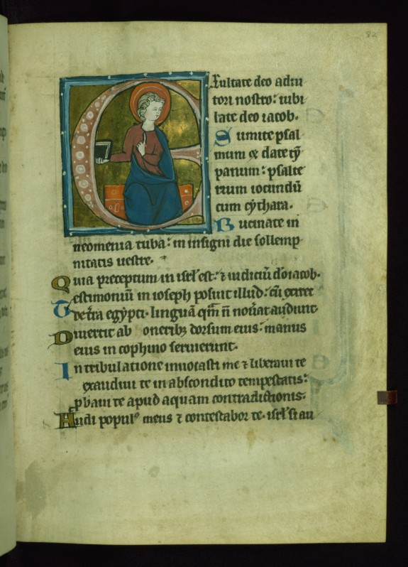 Leaf from Psalter: Psalm 80, Initial E with Seated Apostle
