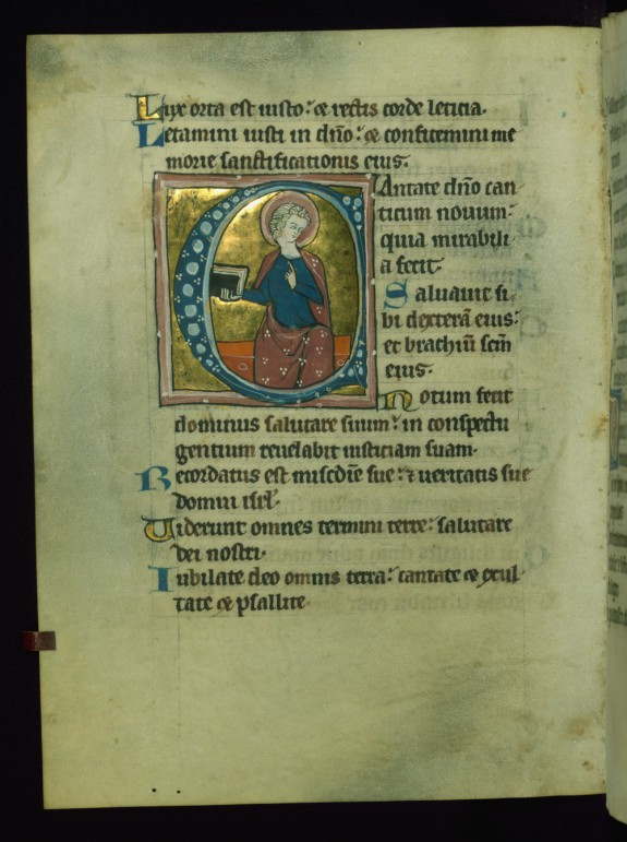 Leaf from Psalter: Psalm 97, Initial C with Seated Apostle
