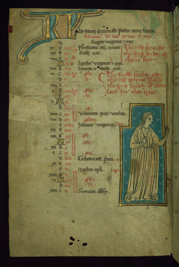 Leaf from the Touke Psalter: February Calendar, Woman Holding Long Candle for Candlemas