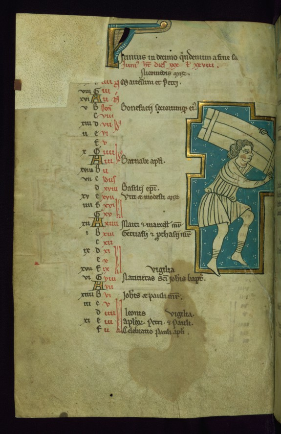 Leaf from the Touke Psalter: June Calendar, Man Carrying Bundles of Wood
