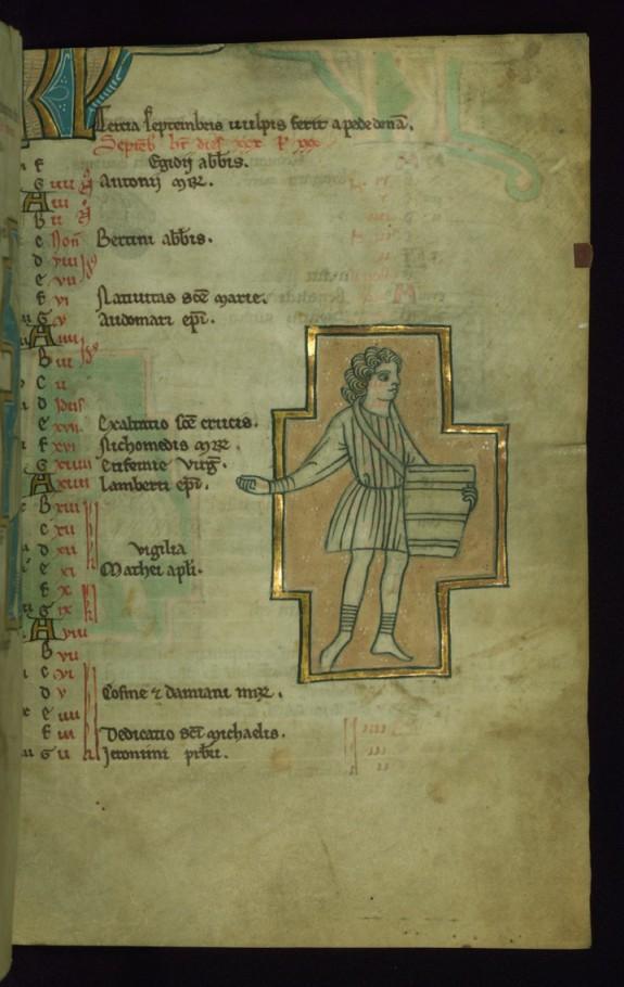 Leaf from the Touke Psalter: September Calendar, Man Sowing