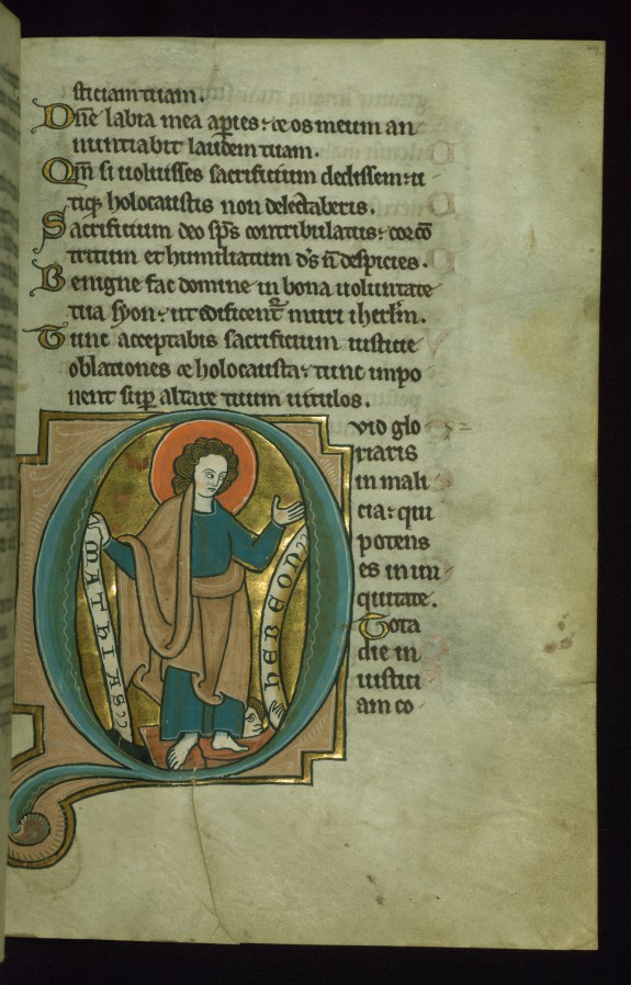 Leaf from the Touke Psalter: Psalm 51, Initial