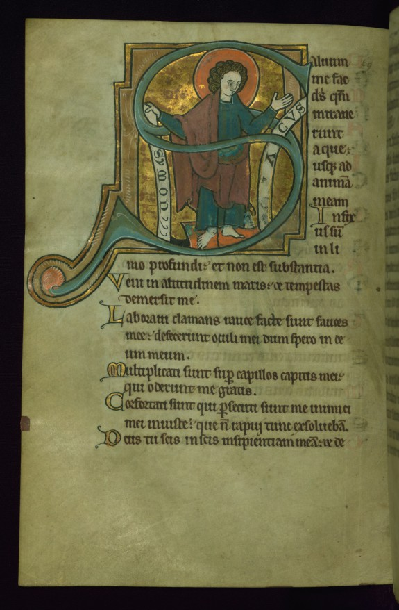 Leaf from the Touke Psalter: Psalm 68, Initial