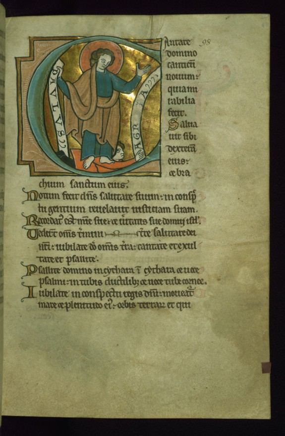 Leaf from the Touke Psalter: Psalm 97, Initial