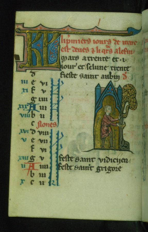 Leaf from Book of Hours: March Calendar, Man Pruning a Tree