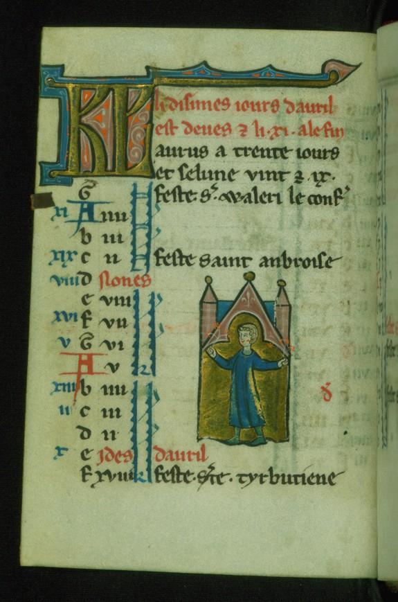 Leaf from Book of Hours: April Calendar, Man Holding Orange Blossoms