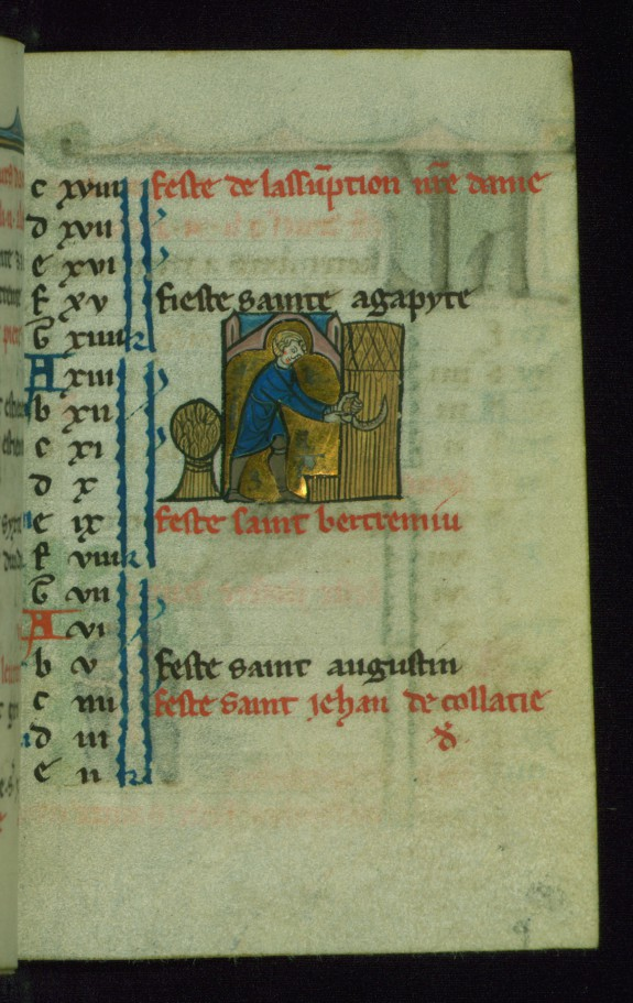 Leaf from Book of Hours: August Calendar, Man Harvesting Wheat with a Sickle