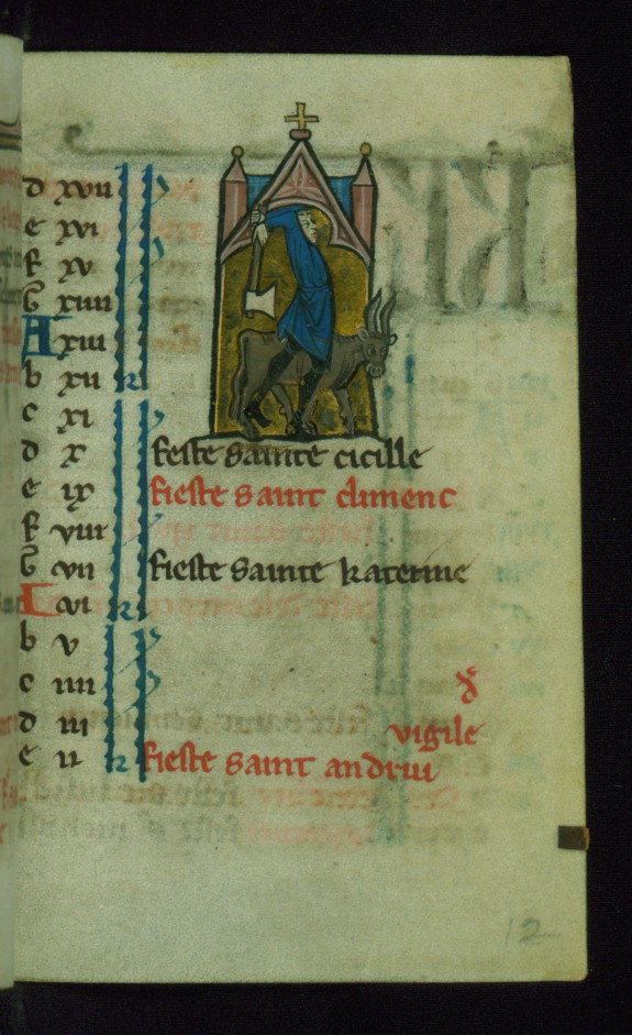 Leaf from Book of Hours: November Calendar, Man Slaughtering an Ox