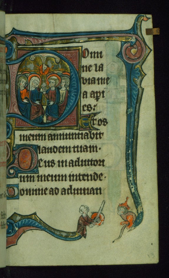 Leaf from Book of Hours: Matins, Initial