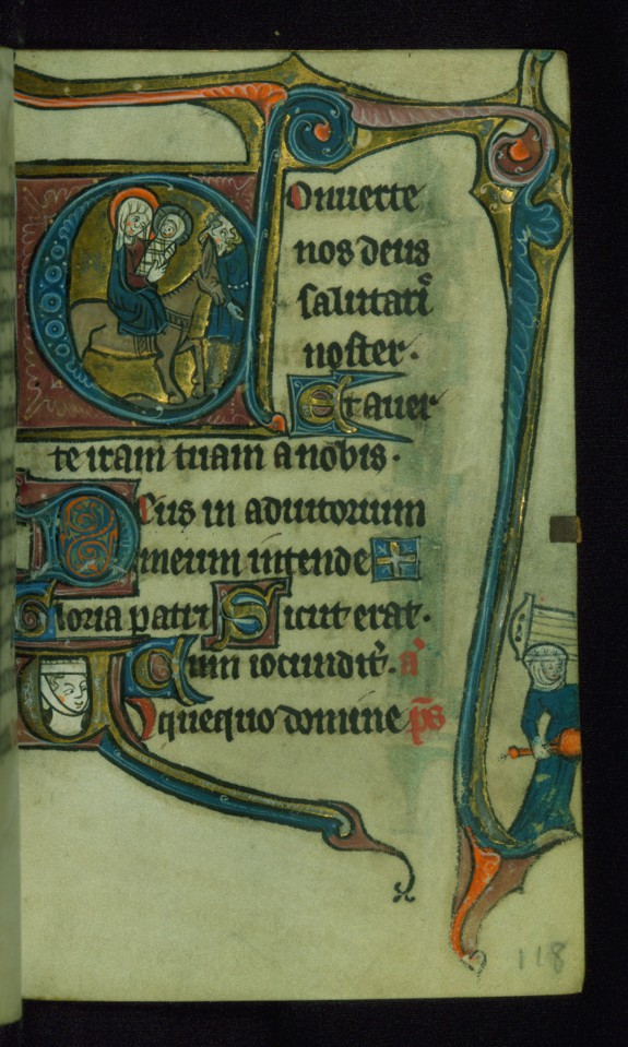 Leaf from Book of Hours: Compline, Initial
