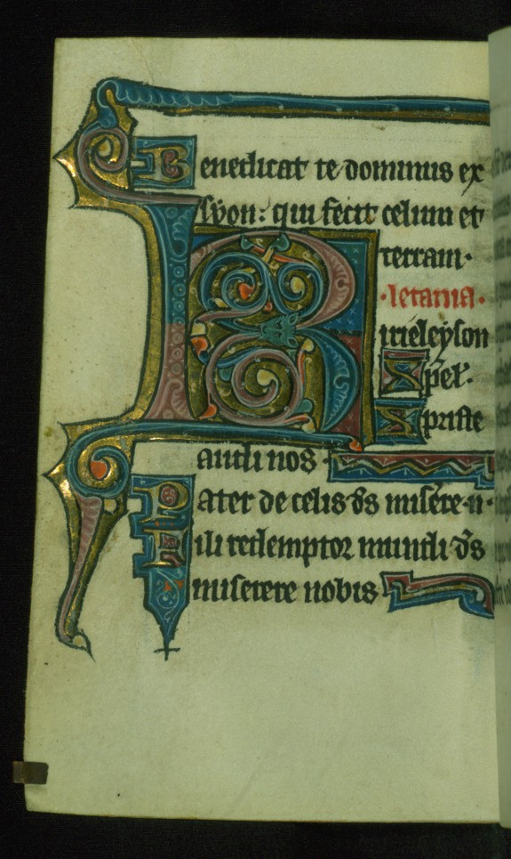 Leaf from Book of Hours: Litany, Decorated Initial