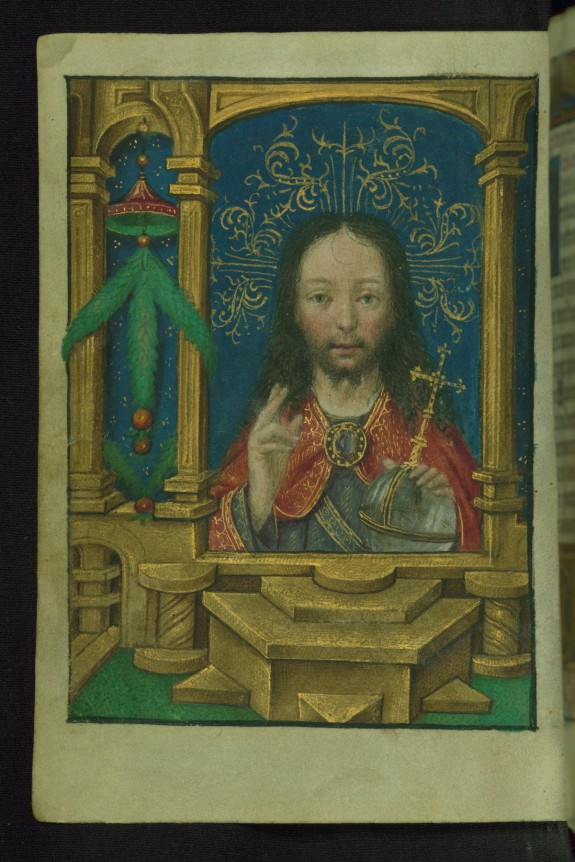 Leaf from Book of Hours: Salvator Mundi