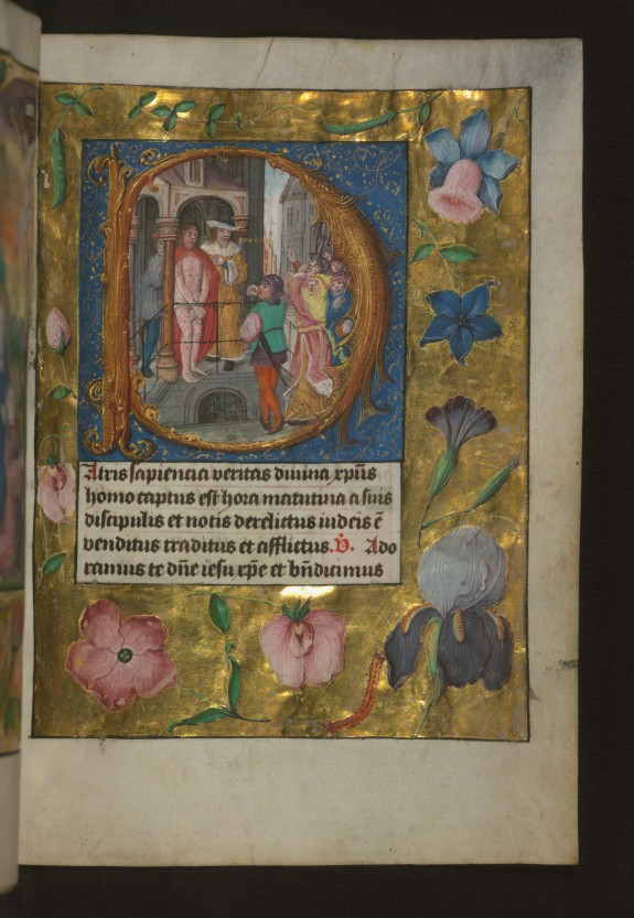 Leaf from Aussem Hours: Hours of the Cross, Pontius Pilate Presents the Scourged Christ to the Crowd