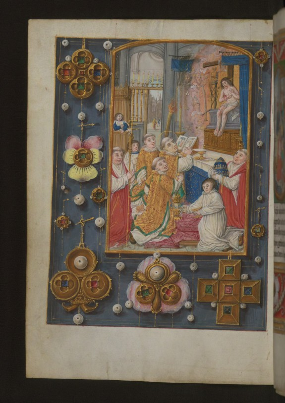 Leaf from Aussem Hours: Prayers of Saint Gregory, Mass of Saint Gregory with Illusionistic Jewelry in Margins