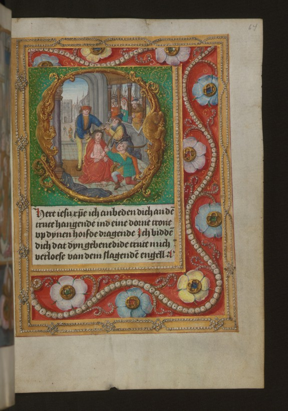 Leaf from Aussem Hours: Prayers of Saint Gregory, Mocking of Christ, with Illusionistic Jewelry in Margins