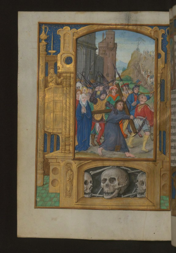 Leaf from Aussem Hours: Prayers on the Sufferings of Christ, Christ Carrying the Cross with Illusionistic Architecture in Margins