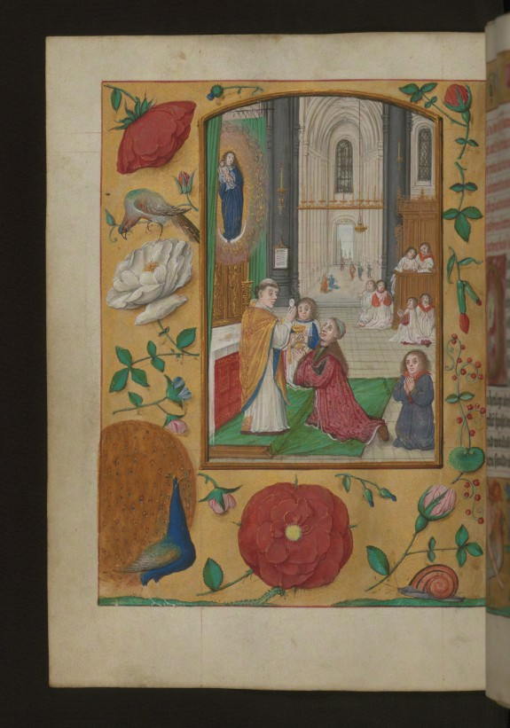 Leaf from Aussem Hours: Prayer of the Sacred Sacrament, Celebration of Mass with Aussem Family Member Receiving Communion
