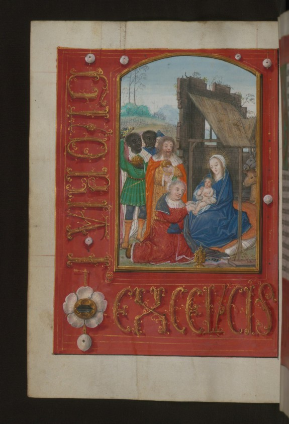 Leaf from Aussem Hours: Prayer to the Three Magi, Adoration of the Magi with Illusionistic Text and Jewels in Margins