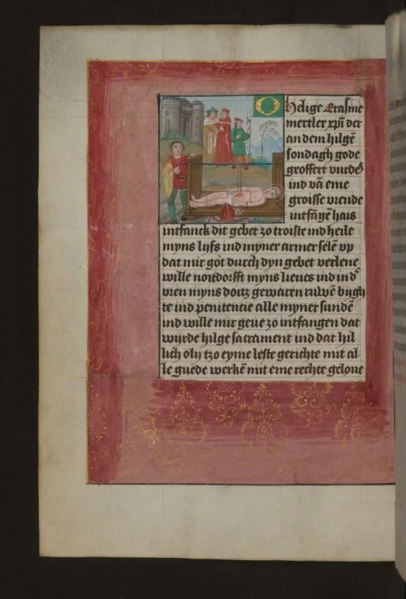 Leaf from Aussem Hours: Prayer to Saint Erasmus, Martyrdom of Saint Erasmus