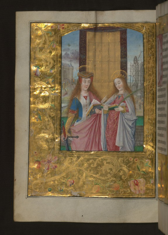 Leaf from Aussem Hours: Prayer to Saint Catherine, Saints Catherine and Barbara with Gold and Floral Marginal Decoration