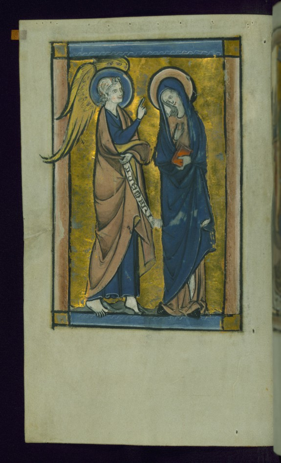 Leaf from Psalter: Annunciation