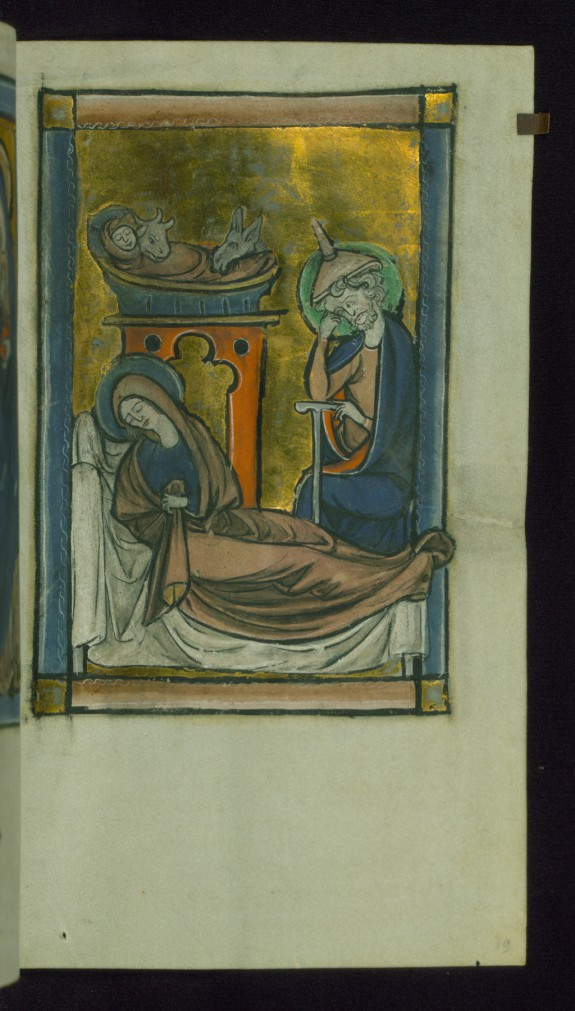 Leaf from Psalter: Nativity