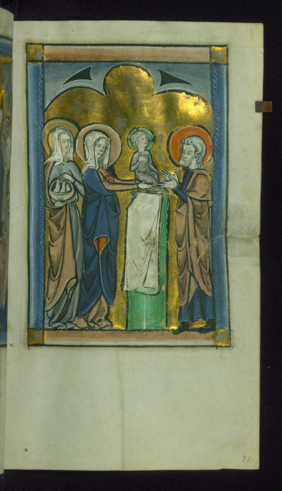 Leaf from Psalter: Presentation in Temple