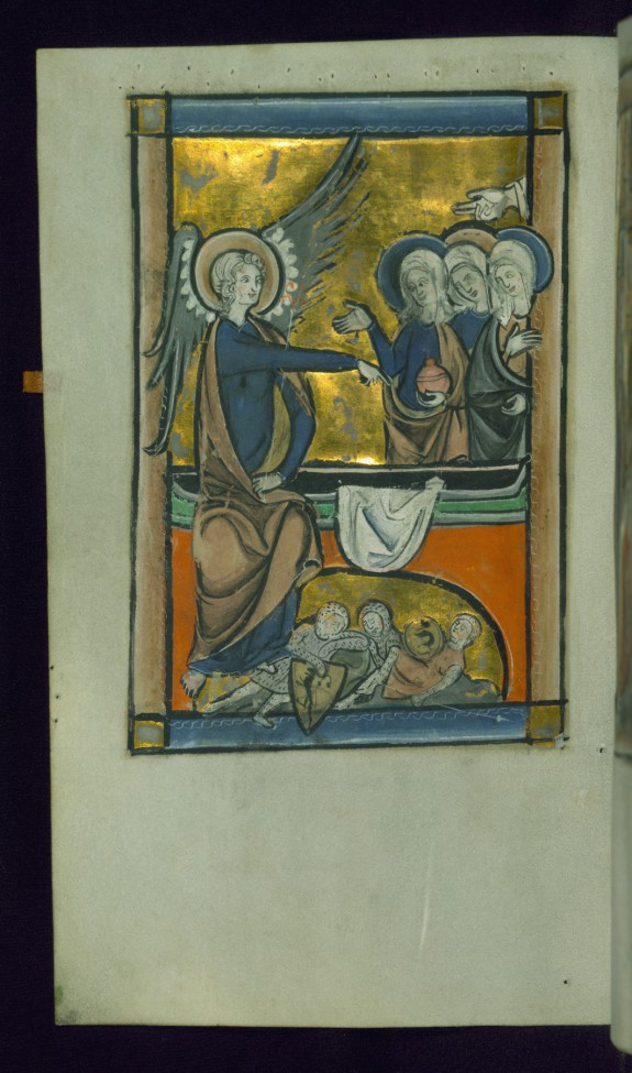 Leaf from Psalter: Three Marys at the Tomb