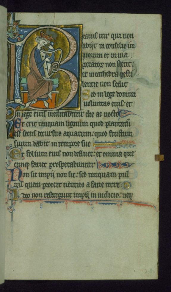 Leaf from Psalter: Psalm 1, Initial B with King David Playing Harp