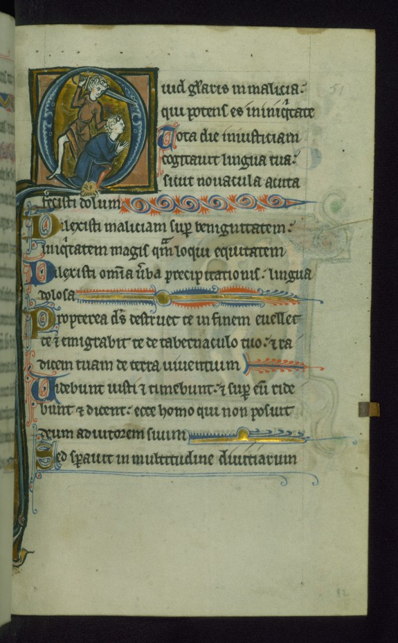 Leaf from Psalter: Psalm 51, Initial Q with Ahimelech Being Beheaded by Doeg