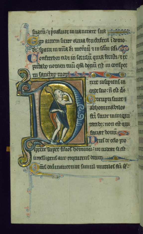Leaf from Psalter: Psalm 52, Initial D with Fool Holding a Club and Biting a Loaf