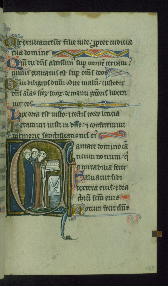 Leaf from Psalter: Psalm 97, Initial C with Clerics Singing