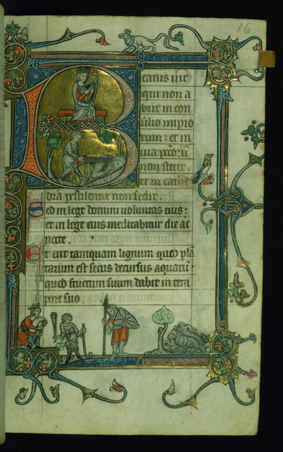 Leaf from Psalter: Psalm 1, Initial B with David Harping Above and Decapitating Goliath Below