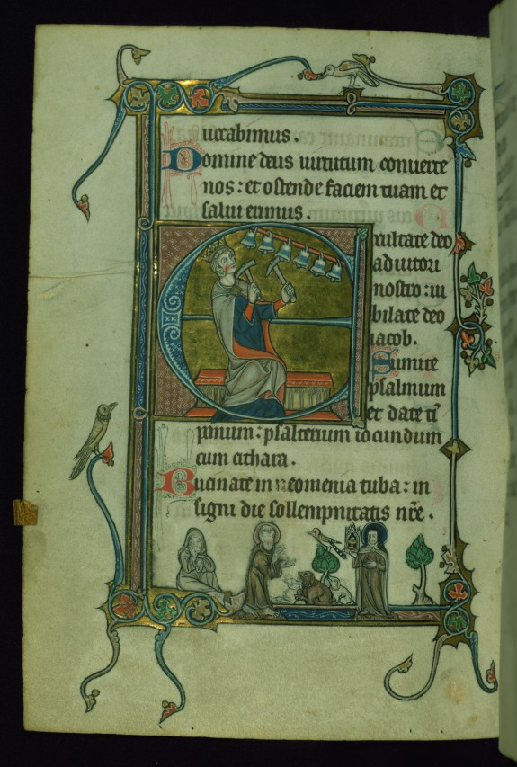 Leaf from Psalter: Psalm 80, Initial E with David Ringing Bells