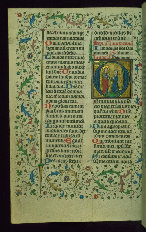 Leaf from Breviary: Psalm 26, Initial D with God Blessing a Laic