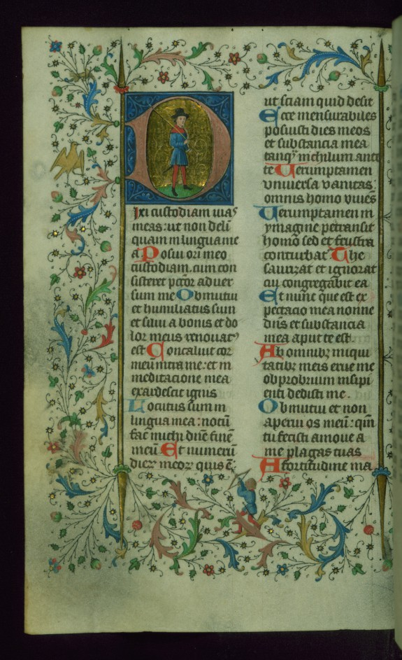 Leaf from Breviary: Psalm 38, Initial D with a Hunter