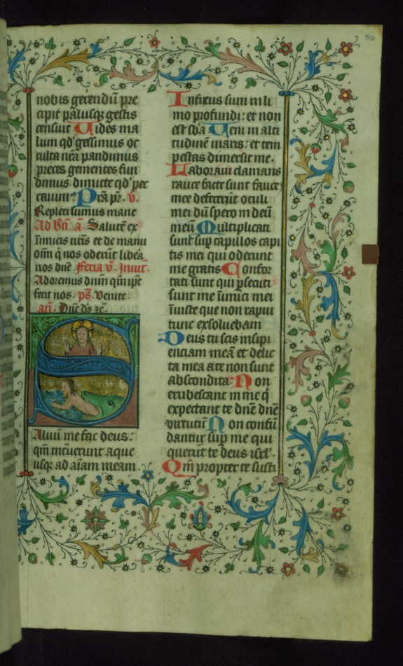 Leaf from Breviary: Psalm 52, Initial S with Christ above Jonah Escaping the Whale