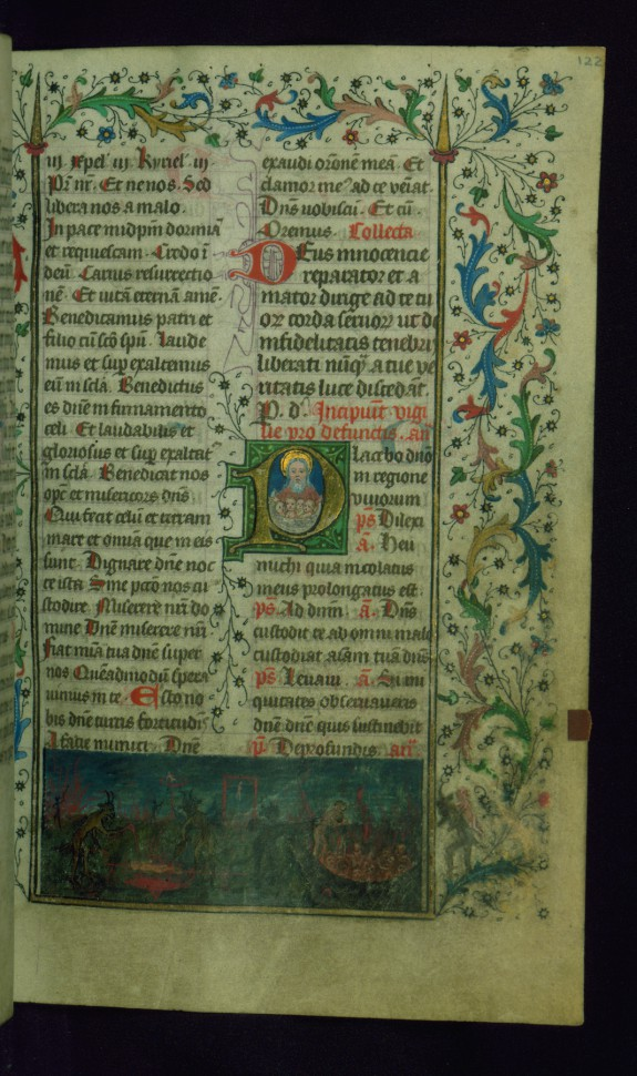 Leaf from Breviary: Vigil from Office of the Dead, Initial P with the Bosom of Abraham and a Small Miniature of Hell