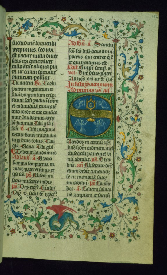 Leaf from Breviary: Corpus Christi from Temporale, Initial S with Angels Holding a Gold Monstrance