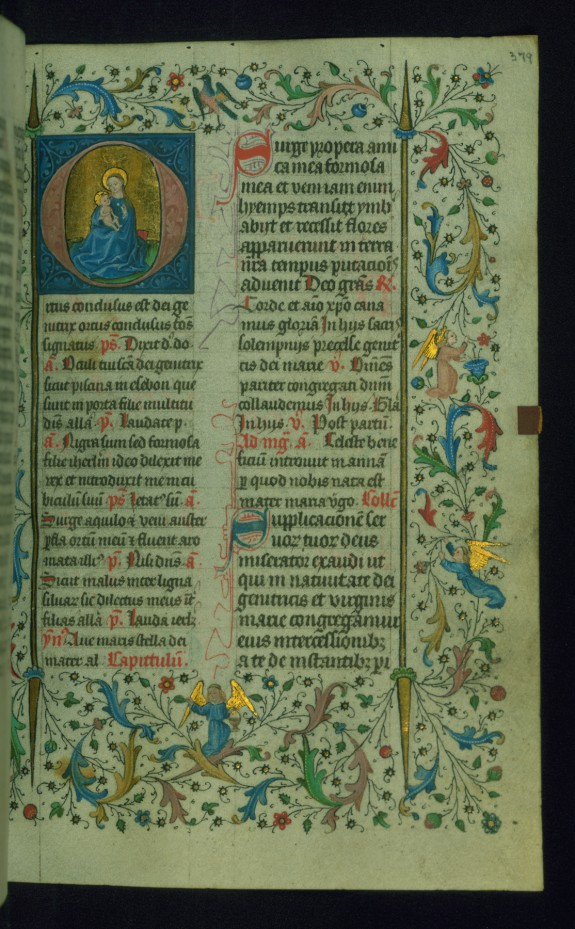 Leaf from Breviary: Nativity of the Virgin from Sanctorale, Initial O with the Virgin of Humility