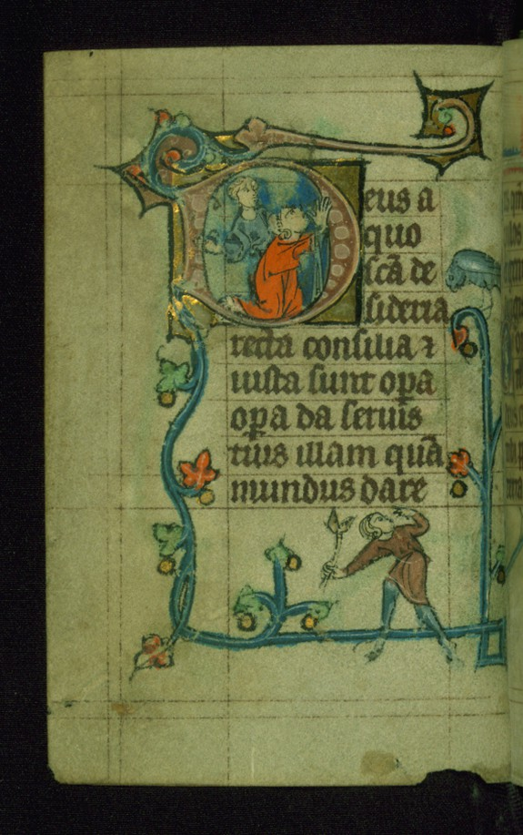 Leaf from Book of Hours: Lauds from Hours of the Virgin, Initial D with the Martyrdom of Stephen