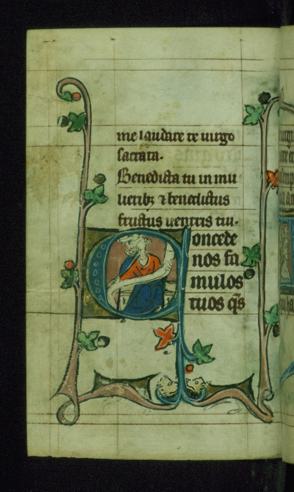 Leaf from Book of Hours: Terce from Hours of the Virgin, Initial C with an Apostle Holding a Scroll