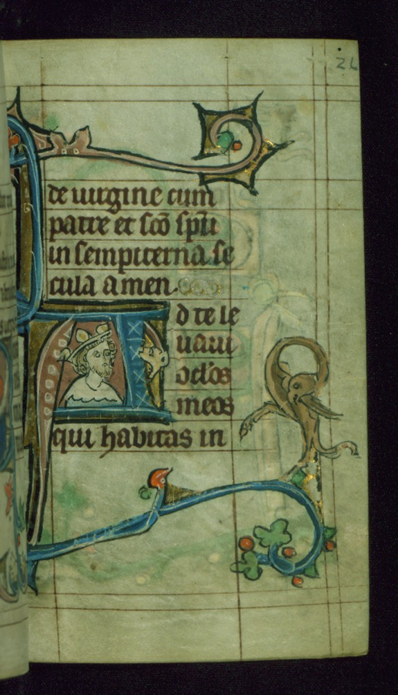 Leaf from Book of Hours: Terce from Hours of the Virgin, Initial A with a King's Bust