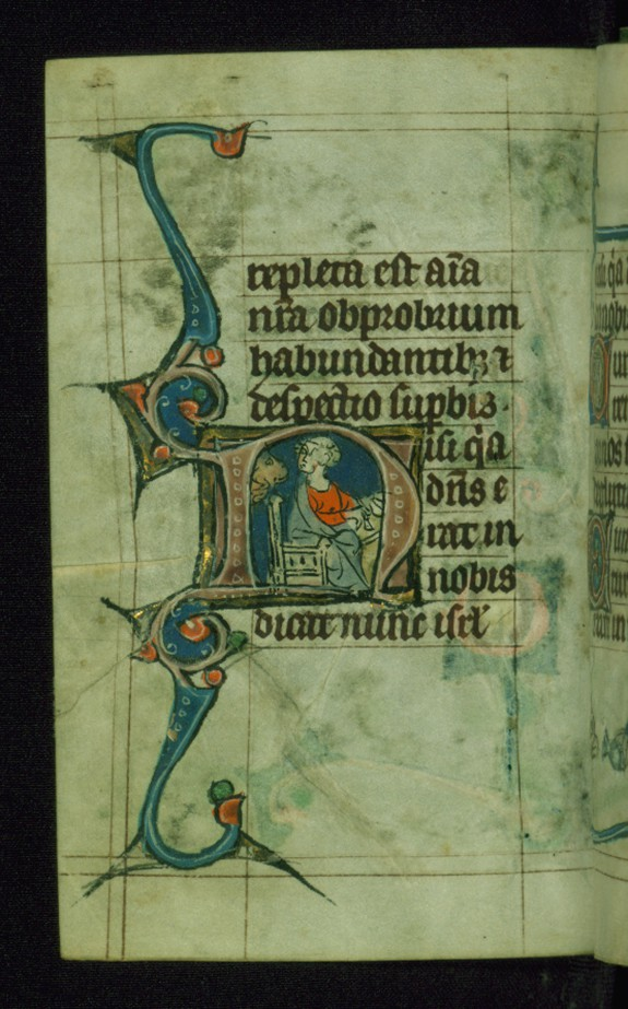 Leaf from Book of Hours: Terce from Hours of the Virgin, Initial N with the Evangelist Mark