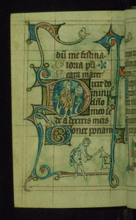 Leaf from Book of Hours: Vespers from Hours of the Virgin, Initial D with John the Baptist